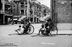 Two rickshaws in the eye of the camera, Hong Kong 1930s Note that the rickshaw on the right is fitted with pneumatic tyred wheels (Image courtesy: Hong Kong Museum of History)