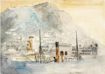 A Chinese Merchantman sunk in Hong Kong Harbour (art) Made by: Rosoman, Leonard Henry (RA) 1945-09-17 image: The funnel and two masts of a sunken vessel rise up out of the water.