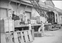 Flying Officer Herbert Lees DFC directs Chinese labourers and Japanese prisoners of war in the loading of goods on flatbed trucks of the Kowloon Railway, Hong Kong. This railway was immobilised during the Japanese occupation, services were restored under Royal Air Force supervision after the liberation. photo by RAF official photpgrapher