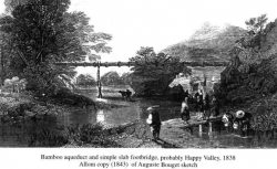 Bamboo aqueduct and simple slab footbridge probably Happy Valley 1838 Allom copy (1843) of Auguste Bouget sketch