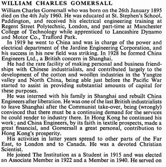 Gomersall, William Charles obituary 1