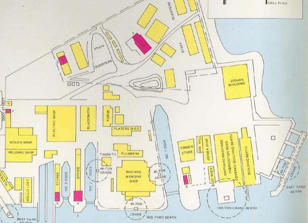 circa 1967 note location of the crane in the bottom right hand corner