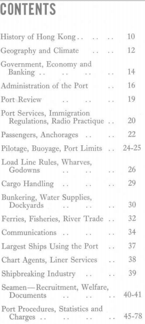 Port of Hong Kong Marine Dept 1966 Contents