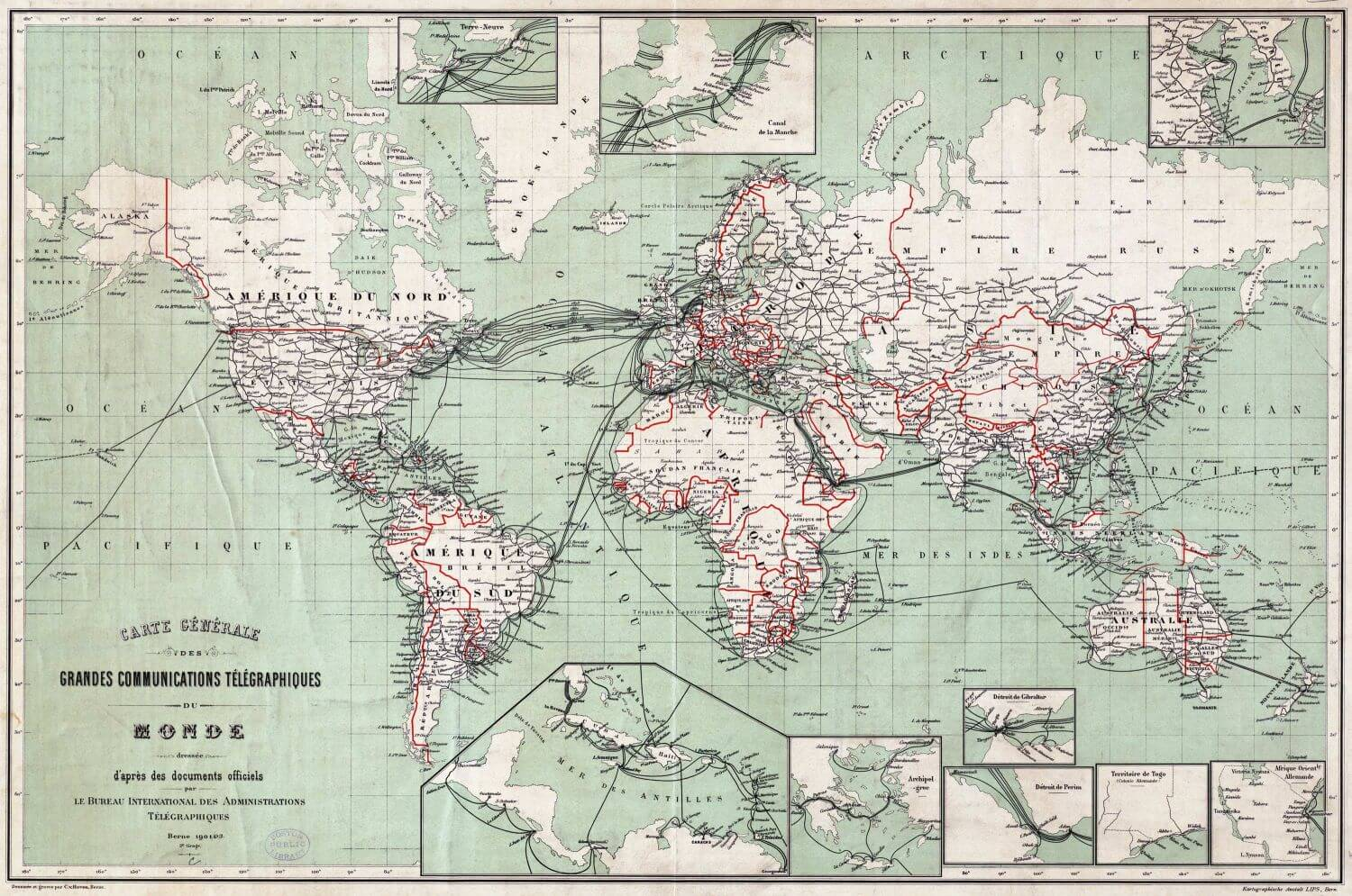 Cable telegraph Map 1901-Berne-Map-BPL-Leventhal-CC from Bill Burns