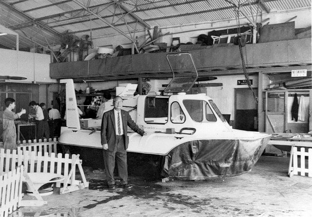 Early type of hovercraft - Mr HK Watt the Principal 1970s