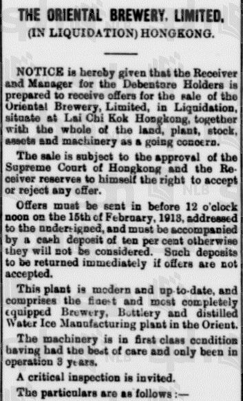 Orienatl Brewery liquidation 1 Straits Times 11.1.1914