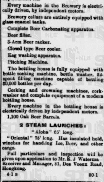 Oriental Brewery Straits Times 11.1.1913