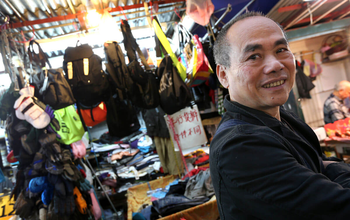 Chan Kong-chiu has been selling goods on Fa Yuen Street in Mong Kok since 1977, first as an illegal hawker with a cart, now at a stall. David Wong/SCMP