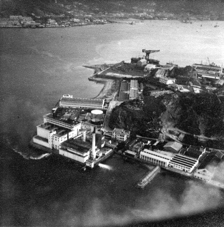 Hok Un Power Station 1947 Note HK & Whampoa's Dockyard's hammerhead carne in the background