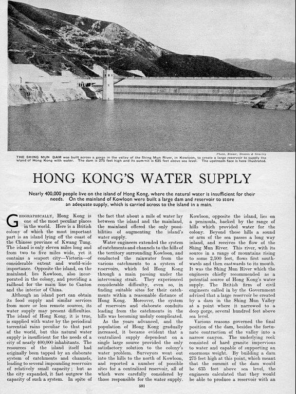 Hong Kong Water Supply 1935 Page 1