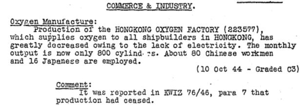Hongkong Oxygen Company ER KWIZ #77 15.12.44