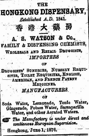 A S Watson Chemist Advert China Mail 1.8.1878