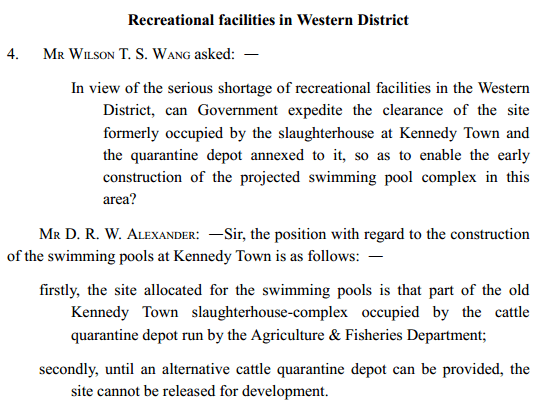 Kennedy Town slaughterhouse Legco 4.6.1969