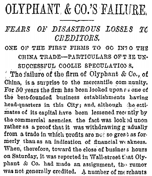 Olyphant & Co Failure, NY Times 9th Dec 1878 extract