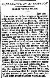 Green Island Cement Fire HK Telegraph 17th Match 1906