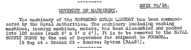 Hong Kong Steam Laundry BBAG KWIZ #70 6.10.44