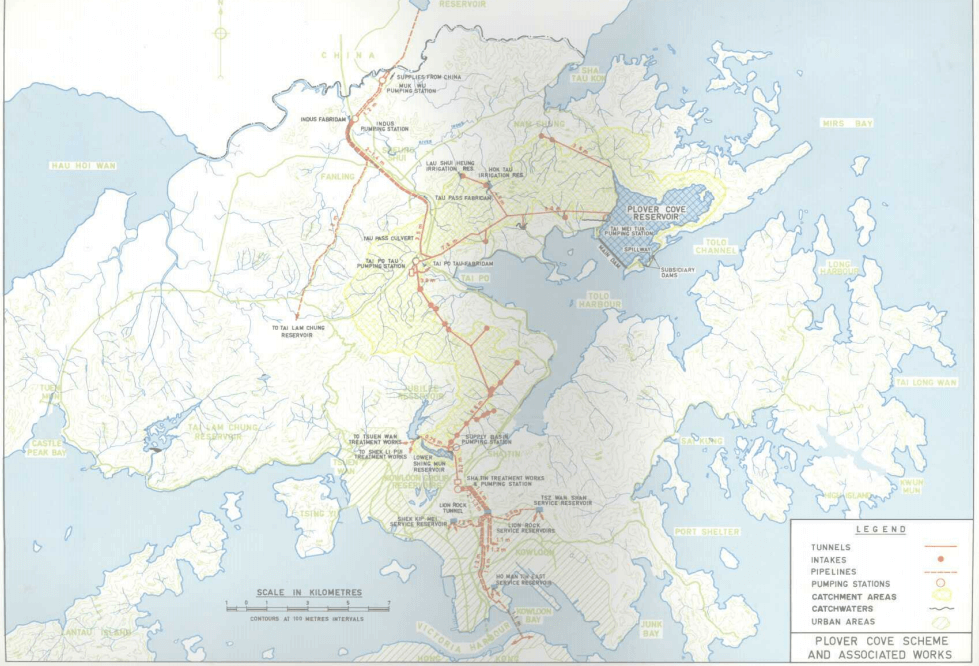 Plover Cove Reservoir 1977 WSD report snipped image map