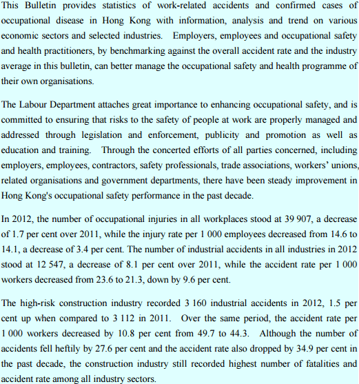 Labour Dept report on industruial accidents June 2013