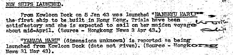 BAAG Report WIS #27 14.4.43 Nanshyu Maru