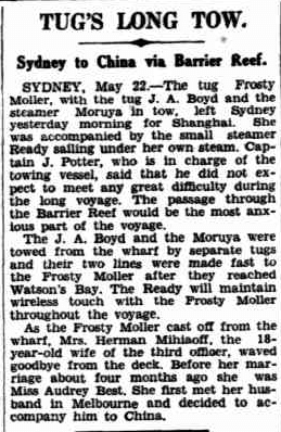 Frosty Moller, The Western Australian 23rd May 1938