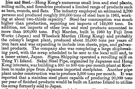 Iron and Steel 1963 production The Mineral Industry of HK
