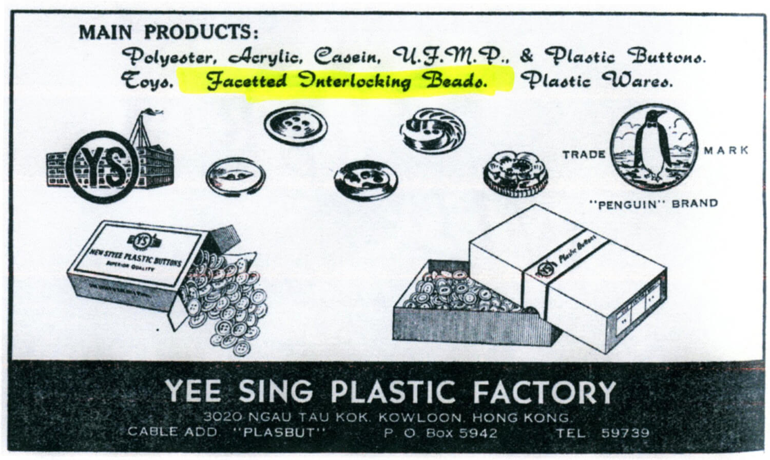 Yee Sing Plastic Factory Bead making company advert-1957