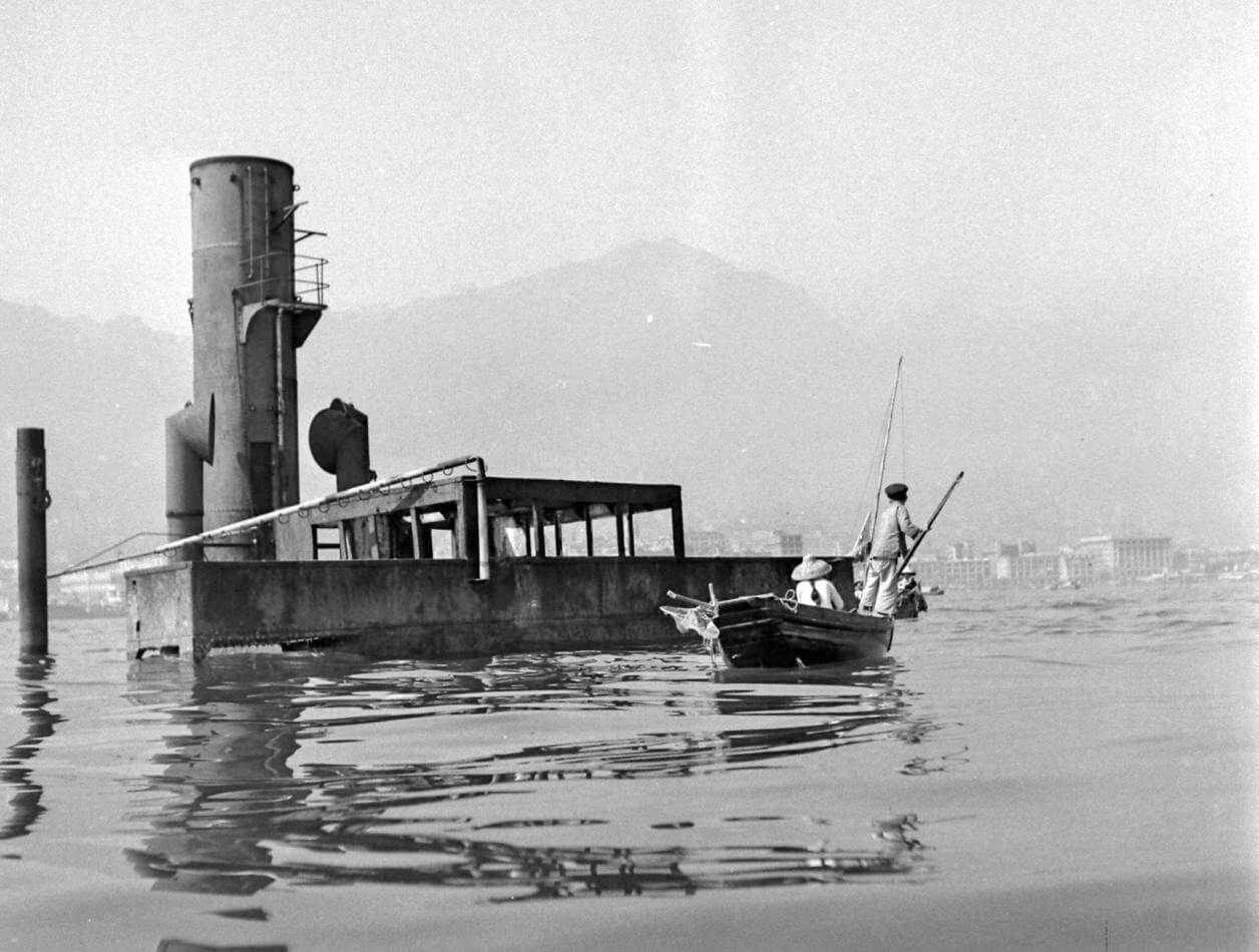 Unnamed freighter HK Harbour post WW2 IDJ a