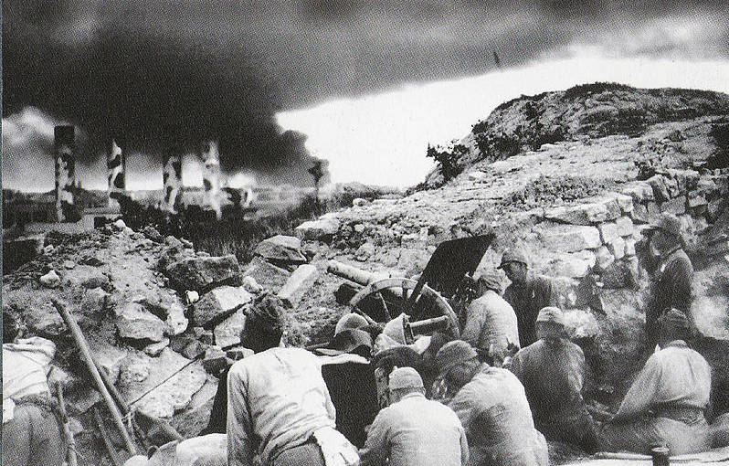 North Point Power Station under attack during the Jap invasion