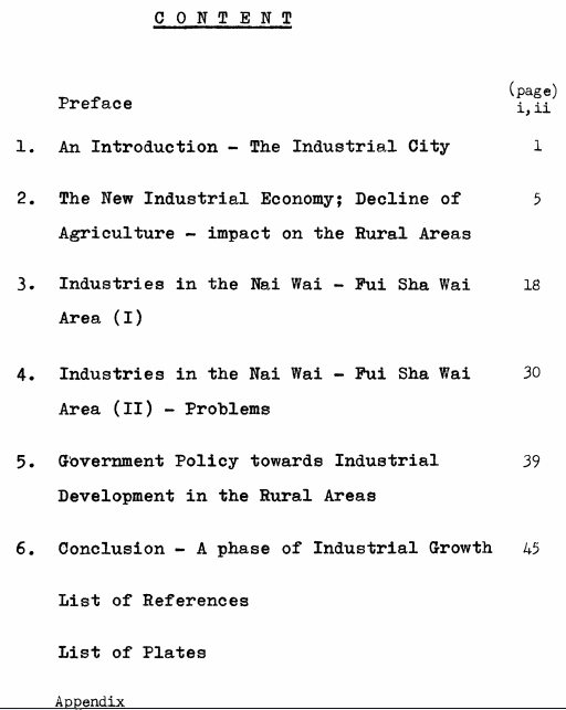 Industries Nai Wai.Fui Shan Wan 1969 dissertation contents