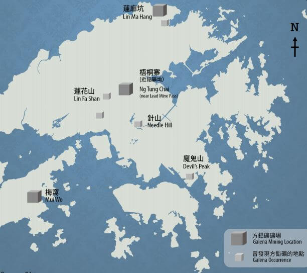 Lead (Galena) mines and occurrence from Mining in HK, HK Regional Group, Geo Society