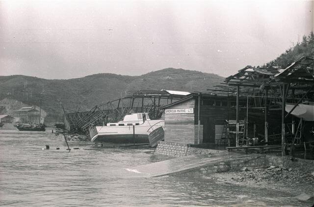 American Marine Shipyard -Typhoon Wanda damage a