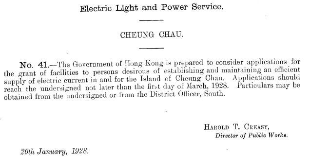 Cheung Chau Electric Light + Power Service applications for establishing + maintaining 20.1.1928