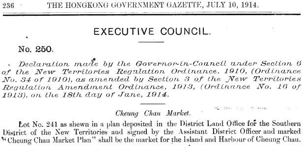 Cheung Chau Market - Executive Council 18.6.1914
