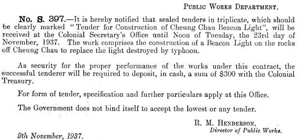 Cheung Chau tender for Beacon Light 9.11.1937