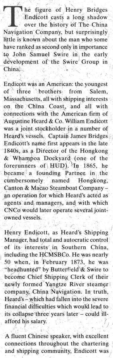 China Navigation Co, HB Endicott a SwireNews IDJ 01