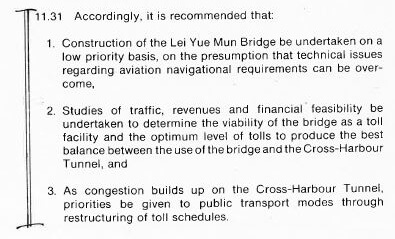 Lei Yue Mun Bridge, snipped extract from 1976 HK Comprehensive Transport Study