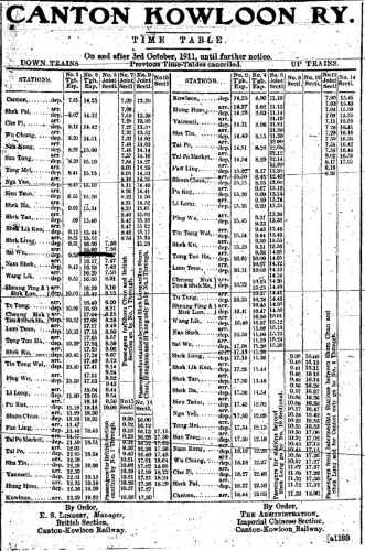 1911 Time Table