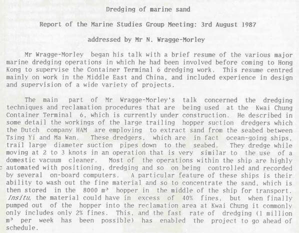Dredging, Container Terminal 6, Geol Soc Newsletter '87 Vol 5 (2)