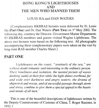Lighthouses, HK and the men who manned them HKBRAS Vol 41, 2001