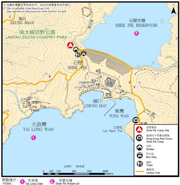 Tai Long Wan village. Shek Pik reservoir map