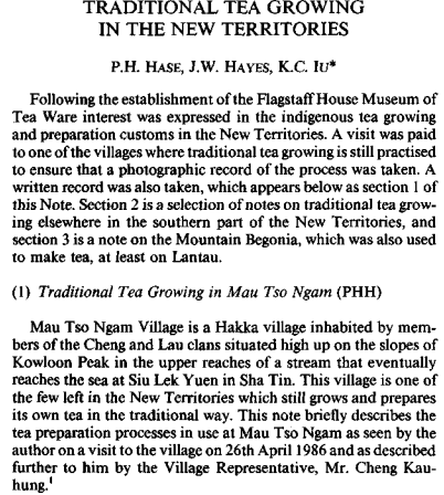 Tea, traditional tea growing in the NT, RASHKB Vol 24, 1984 snipped a