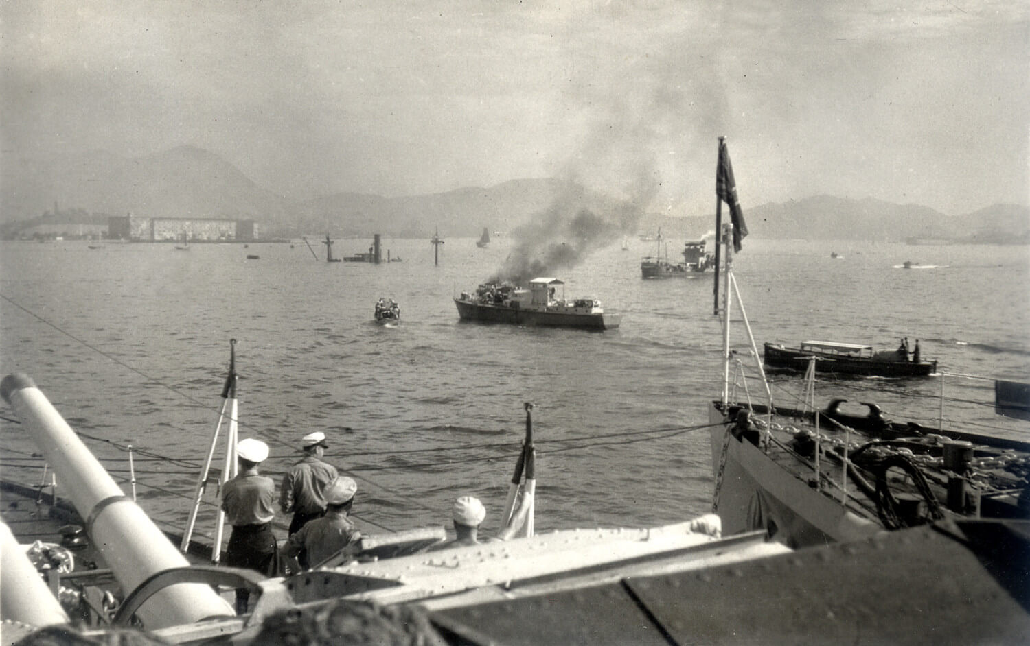 Tim Ko - unnamed freighter Hk harbour WW2 Stephen Davies