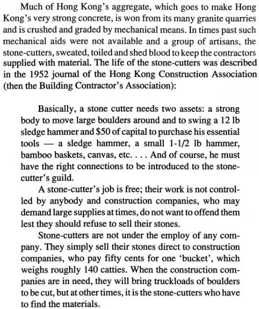 Stone Cutters' Life a 1952 Journal of the HK Construction Association