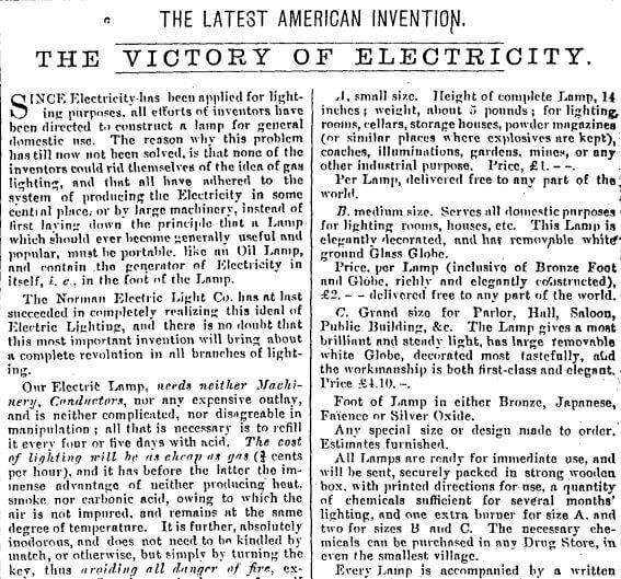 Norman Electric Light Company a HK Gov Gazette 9.1.1886