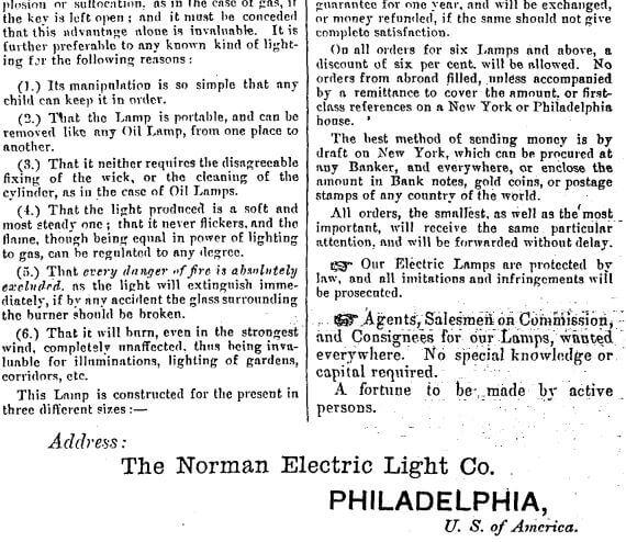 Norman Electric Light Company c HK Gov Gazette 9.1.1886