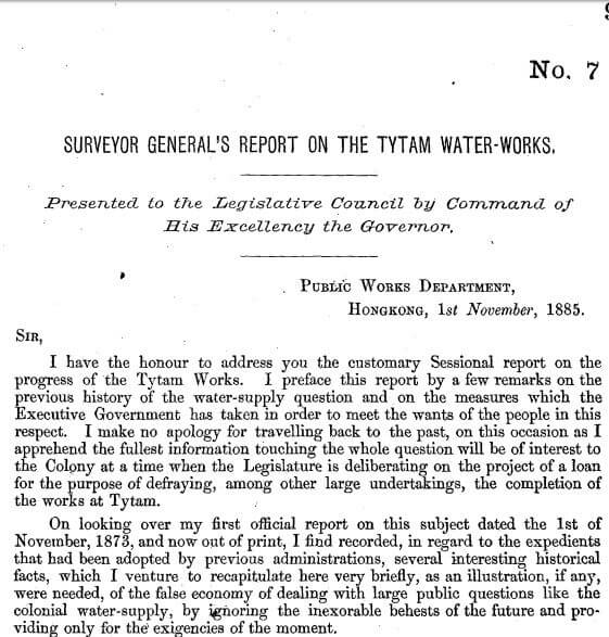 Surveyor General's Report on the Tytam Water-works 1885 a