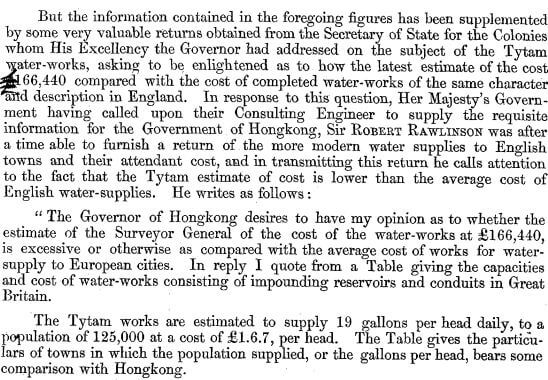 Surveyor General's Report on the Tytam Water-works 1885 hh