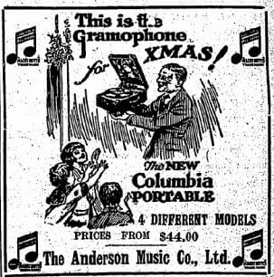 Anderson Music Company Advert HK Daily Press 12.12.1930