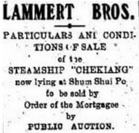 Lammert Bros Dteail Advert For SS Chekiang HK Telegraph 17.8.1923