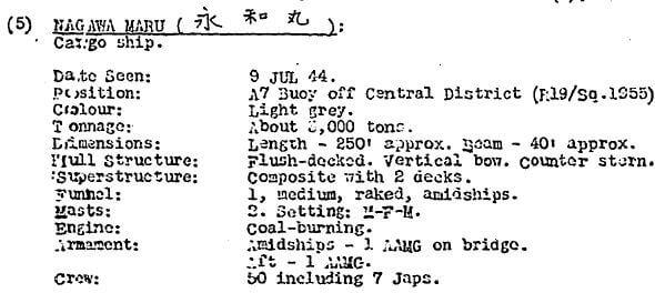 BAAG KWIZ #66 Second Report Nagawa Maru